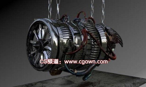 c4d模型-飞机引擎器动画模型